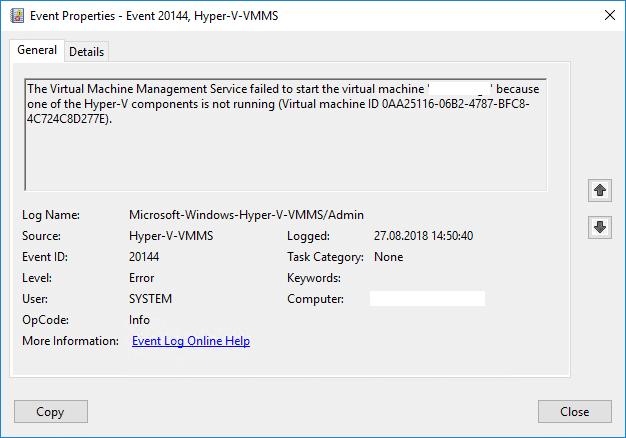 Hyper-V VMs starten nicht mehr nach CU 2018-08 Installation | Hyper