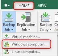create Veeam Agent for windows Backup job